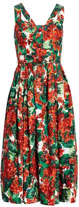 Dolce & Gabbana Sleeveless Floral Poplin Fit-&-Flare Dress