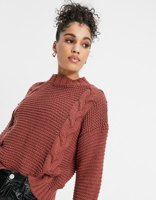 NaaNaa cable knit jumper in rust