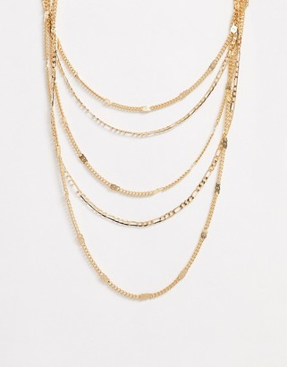 Pieces multi row mixed chain necklace in gold