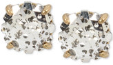 Betsey Johnson Gold-Tone Patina Crystal Stud Earrings