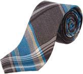 Ben Sherman Brown & Aqua Plaid Silk Blend Tie
