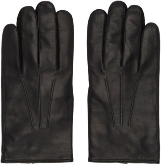 Paul Smith Black Leather Plain Gloves