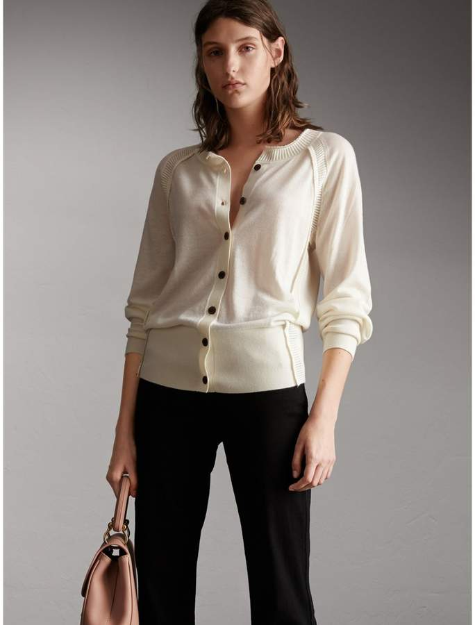 Burberry Open-knit Detail Cashmere Cardigan