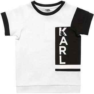 Karl Lagerfeld Paris Logo Print Cotton Pique T-shirt