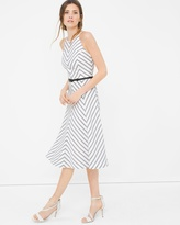 White House Black Market Bias Stripe Fit-and-Flare Dress