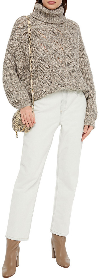 Thumbnail for your product : BA&SH Pointelle-knit Turtleneck Sweater