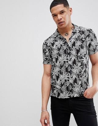 Religion Short Sleeve Revere Shirt In Black Leaf Print