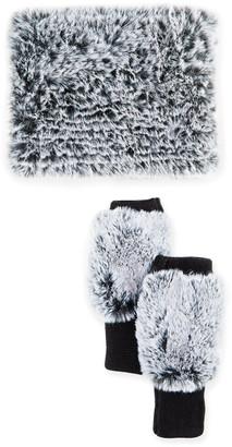 Jocelyn Snowtop Faux-Fur Cowl & Mittens Gift Set