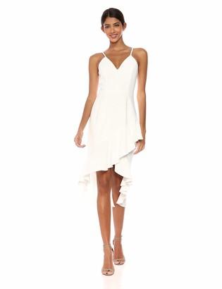 Dress the Population Women's Wendy Sleeveless Plunging Ruffle Hem Midi Sheath Dress