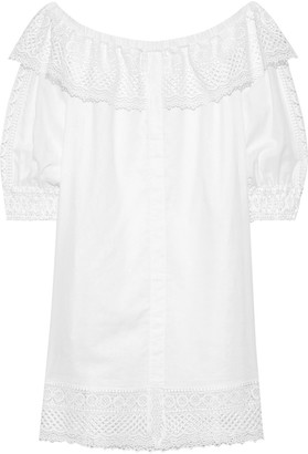 Charo Ruiz Ibiza Off-the-shoulder Guipure Lace-paneled Cotton-blend Mousseline Dress