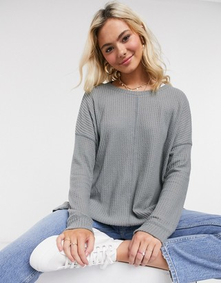 American Eagle long sleeve cosy top in olive