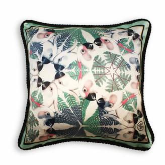 Texas And The Artichoke Iguazu Silk & Velvet Cushion Aquamarine