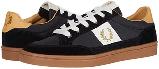 Fred Perry Deuce Poly/Suede/Leather (Black/Metallic Gold) Men's Shoes
