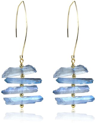 Eye Candy Los Angeles Tiered Natural Quartz Drop Earrings