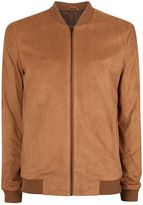 Topman Tan Faux Suede Smart Bomber Jacket