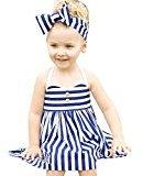 Hot Baby Dress! AMA(TM) Toddler Kids Baby Girls Summer Sleeveless Stripe Princess Dress +Headband Outfits Clothes Set (5/6T, Blue)