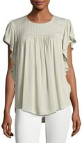 Neiman Marcus Ruffled-Sleeve Shirred Top, Sage