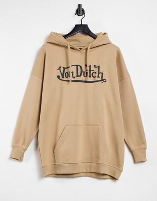 Von Dutch co-ord oversized hoodie in camel