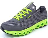 DADAWEN Men's Women's Unisex Mesh Breathable Casual Sports Shoes-Dark Gray and Green 10 US