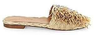 Clergerie Women's Amazing Raffia Fringe Slides Sandals