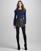 Alice + Olivia Box-Pleat Leather Skirt