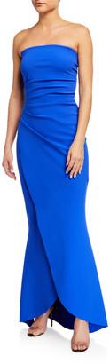 Chiara Boni Hiharu Strapless Shirred Bustier Gown