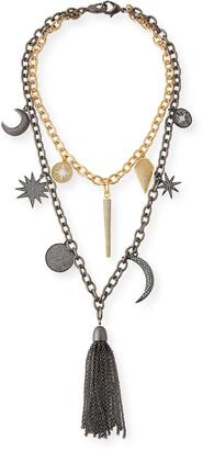 Hipchik Barbara Chain Tassel Charm Necklace