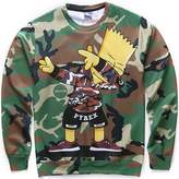 Pizoff Unisex Hipster Long Sleeve Crew Neck Camouflage Cute Cartoon 3D Graphic Print Sport Pullover Sweatshirts -L