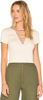 Alexander Wang Lace Up Top in Beige