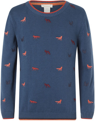 Monsoon Embroidered Fox Knit Jumper in Organic Cotton Teal