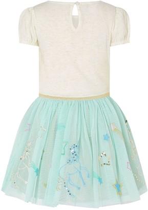 Monsoon Girls Disco Embroidered Unicorn Dress - Aqua