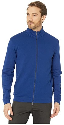 Bugatchi Rocco Long Sleeve Knit Full Zip Mock Neck (New Navy) Men's Clothing