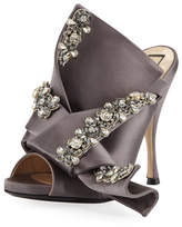 No.21 No. 21 Jeweled Satin 100mm Mule Sandal, Taupe