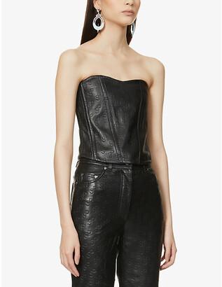 Saks Potts Pex logo-embossed leather corset top