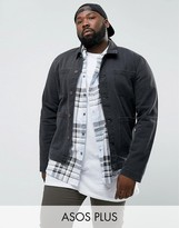 Asos Plus Denim Worker Jacket In Washed Black