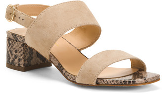 Made In Italy Suede Heeled Two Band Sandals