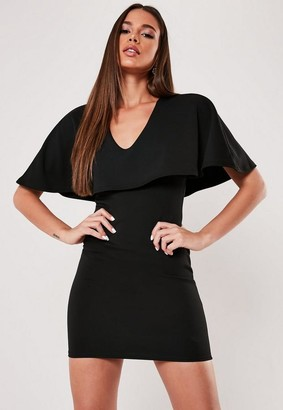 Missguided Black Cape Bodycon Mini Dress