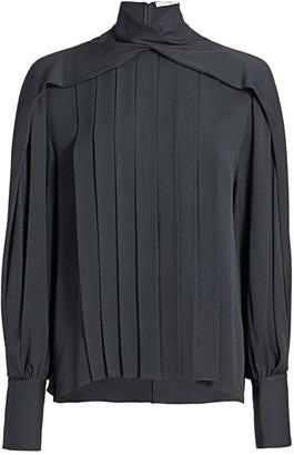 The Row Gilia Pleated Twist-Neck Silk Blouse