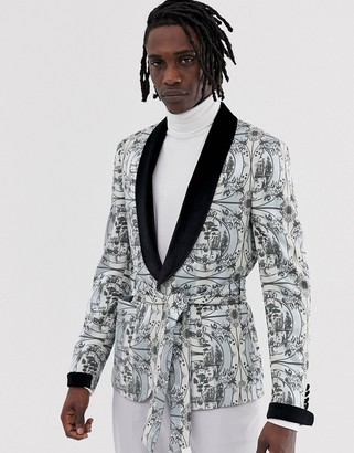 Asos Edition EDITION skinny blazer jacket with all over monochrome print and velvet collar-Black