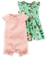 Carter's 2-Pack Floral Print Short Sleeve Romper/Dress in Green
