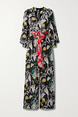 Diane von Furstenberg - Hesy Belted Cold-shoulder Floral-print Silk-crepe Jumpsuit - Black