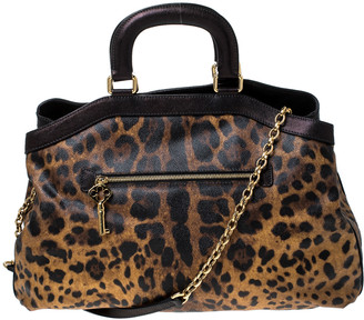 Dolce & Gabbana Leopard Print Coated Canvas and Leather Satchel