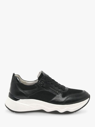 Gabor Lindo Leather Chunky Trainers, Black