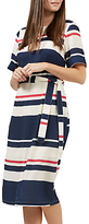 Sugarhill Boutique Heidi Stripe Belted Midi Dress, Cream/Navy/Pink