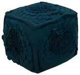 "Surya Tulsi Floral Pouf - Dark Blue - 18"" Cube"