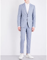 Hardy Amies Micro Check-print Slim-fit Wool And Cotton-blend Suit