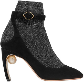 Nicholas Kirkwood Lola Embellished Metallic Stretch-knit And Suede Sock Boots