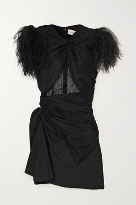 16Arlington Sumire Feather And Lace-trimmed Ruched Shell Mini Dress - Black