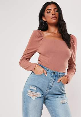 Missguided Rose Milkmaid Rib Square Neck Top