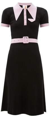 JoosTricot Peachskin Point-collar Ribbed Cotton-blend Dress - Womens - Black Pink